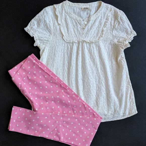 1c169c82596d5 Mini Boden Girls White Eyelet Top Pink Leggings. M_5ab42d1431a376ee8ba6bb0c